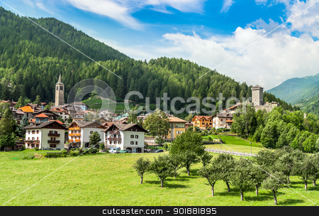Osanna, Typical alps town in Trentino Italy stock photo, Osanna, Typical alps town in Trentino Italy by Alberto Rigamonti