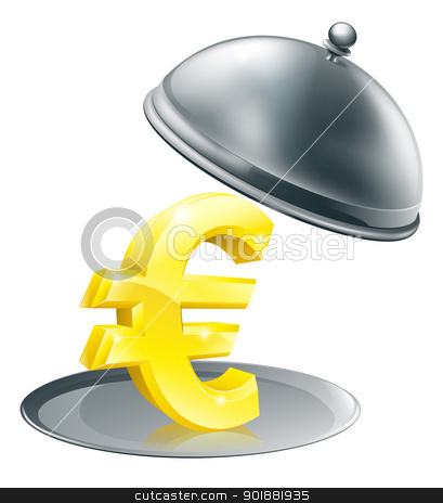 Euro on silver platter concept stock vector clipart, A Euro sign on silver platter. Conceptual illustration for money making opportunity or perhaps to do with expensive dinning by Christos Georghiou