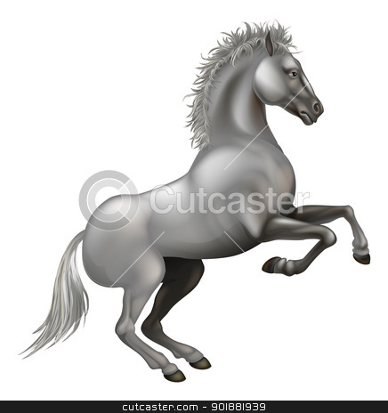 Rearing white horse stock vector clipart, Illustration of a powerful white horse rearing on its hind legs by Christos Georghiou