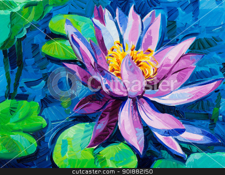 Water Lily stock photo, Original oil painting of beautiful water lily(Nymphaeaceae) on canvas.Modern Impressionism by borojoint