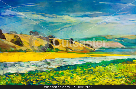 Mountain and river stock photo, Original oil painting of  river coast and cliffs on canvas.Mountain landscape.Modern Impressionism by borojoint