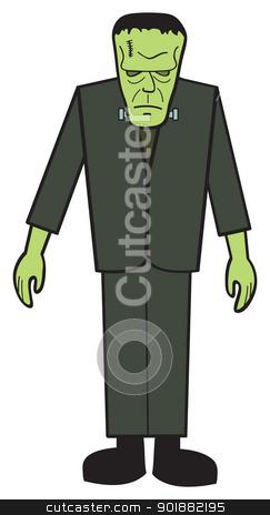 Cartoon FrankNStein stock vector clipart, A cartoon depiction of the classic Frankenstein's monster. by Jamie Slavy