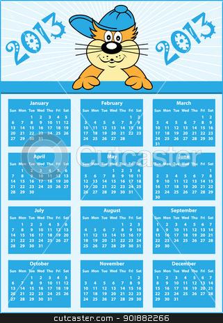 Calendar 2013 full year stock vector clipart, Calendar 2013 full year with cat cartoon character wearing baseball cap by toots77