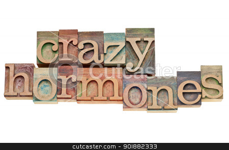 crazy hormones text  in wood type stock photo, crazy hormones - isolated words in vintage letterpress wood type stained by color inks by Marek Uliasz