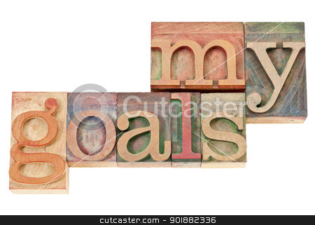 my goals text in wood type stock photo, my goals - isolated words in vintage letterpress wood type stained by color inks by Marek Uliasz
