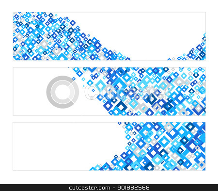 Set of banners with blue diamonds texture stock vector clipart, Set of three banners with blue diamonds texture by Ludek Vodicka
