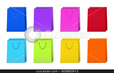 Set of Colorful Shopping Bags stock vector clipart, Set of shopping bags in 8 different colors by Ludek Vodicka