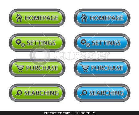 Metal Buttons with Icons for Websites stock vector