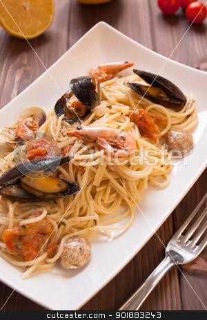 Spaghetti with clams, crayfish and shrimp stock photo, Tasty Spaghetti with clams, crayfish and shrimp by Giordano Aita