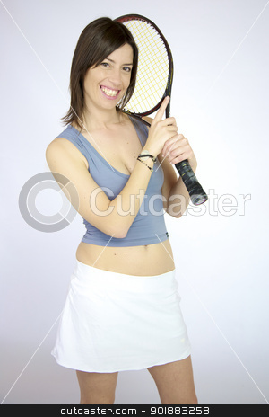 Happy female tennis player posing stock photo, Sexy tennis player woman posing with racquet smiling by federico marsicano