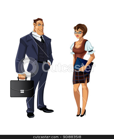 office-plankton stock vector clipart, set of two attractive office workers by Julia