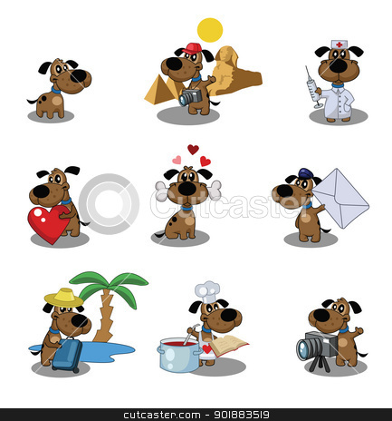 icons dog stock vector clipart, Icons in the form of a cute puppy by Julia