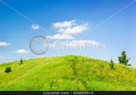 Saturated green hill stock photo, Summer landscape - green grass on the top of the hill. by Piotr Skubisz