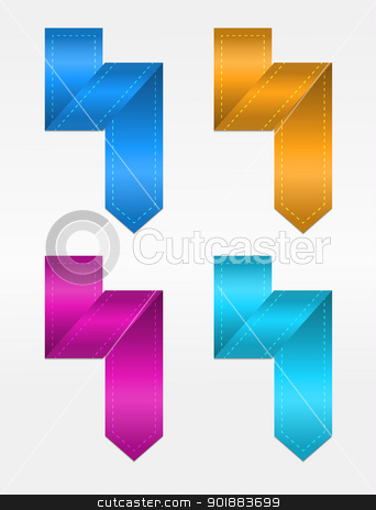 Folded Paper Bookmarks stock vector clipart, Bokmarks made from folded paper in four glossy colors by Ludek Vodicka