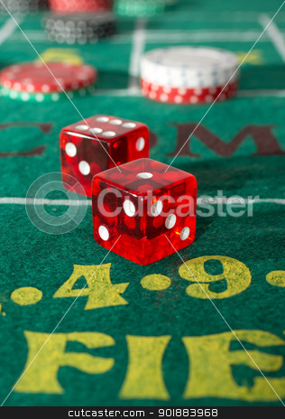 Craps Table stock photo, Craps table with casino chips and dice by Cheryl Valle