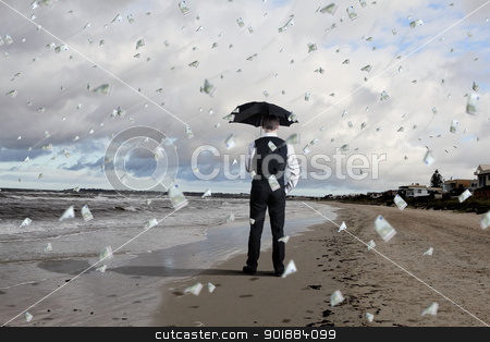 Business person under money rain stock photo, Image of a business person standing under money rain with umbrella by Sergey Nivens