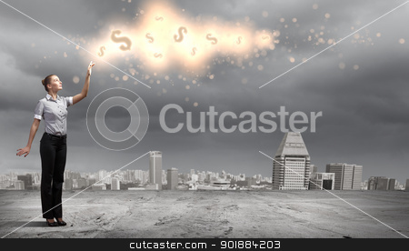 Businessman and cityscape stock photo, Image of a business man standing against cityscape by Sergey Nivens