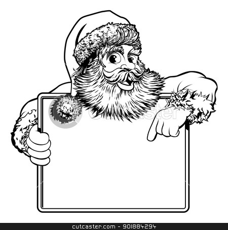Christmas Santa Claus Sign stock vector clipart, Black and white Christmas illustration of Santa holding and pointing at a sign by Christos Georghiou