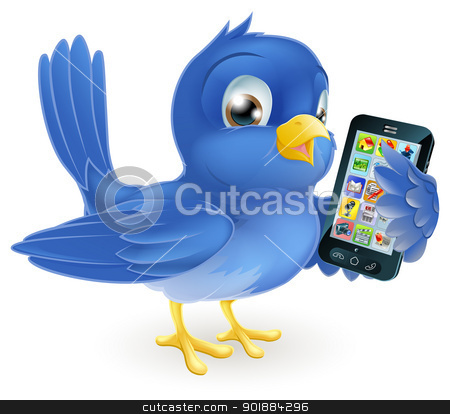 Bluebird with mobile phone stock vector clipart, Illustration of a cute happy bluebird holding a mobile cell phone by Christos Georghiou