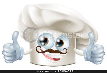 Happy cartoon chef character stock vector clipart, A happy cartoon chef character doing a thumbs up gesture by Christos Georghiou