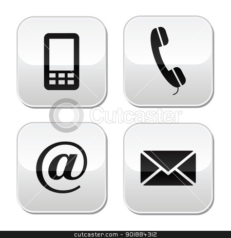 Contact web and internet icons set stock vector clipart, Buttons set styled as labels for Contact Us page.  by Agnieszka Murphy