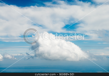 Blue sky with clouds  stock photo, Blue sky with clouds under faraway earth by Iryna Rasko