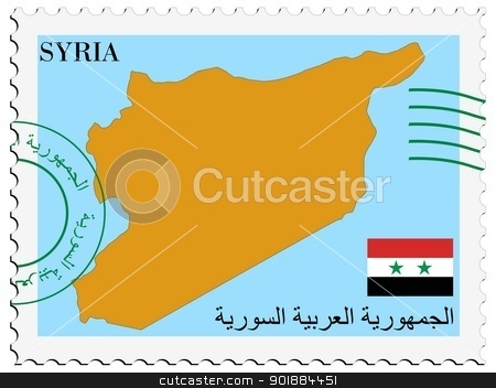 mail to/from Syria stock vector clipart, Image of stamp with map and flag of Syria by Oleksandr Kovalenko