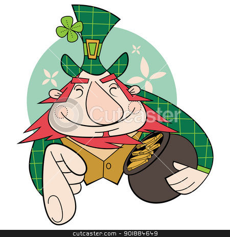 Leprechaun stock vector clipart, Leprechaun with a pot of gold by Moenez