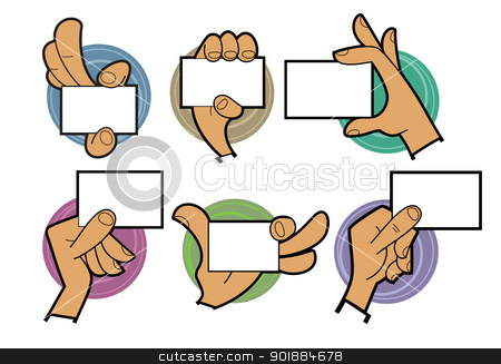Cartoon Hands Holding Card Stock Vector