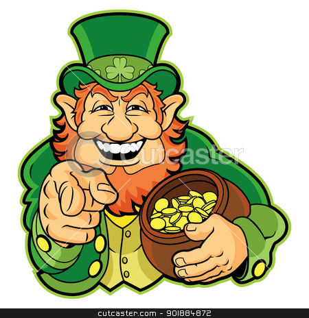 Leprechaun stock vector clipart, Leprechaun with a pot of gold by Moenez