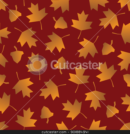 Seamless Fall Leaf Background stock vector clipart, A seamless pattern of stylized fall leaves and acorns on red. by Jamie Slavy