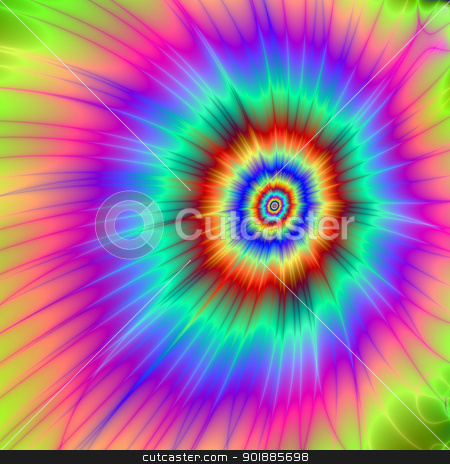 Tie dye Color Explosion stock photo, Digital abstract image with a Tie-dye Color Explosion design in pink, blue, purple, green, and red by Colin Forrest