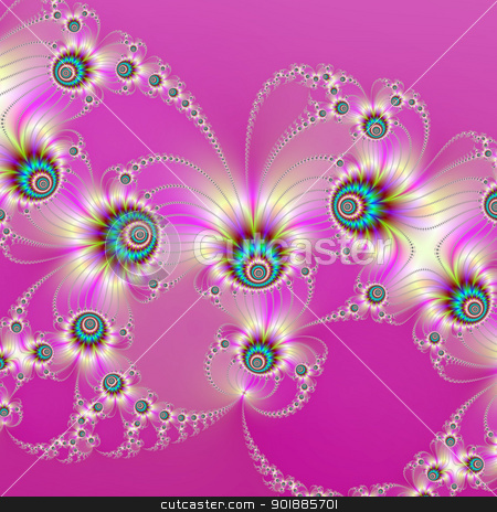 Pink Fractal Fireworks stock photo, Computer generated abstract image with a fractal firework design on a pink background by Colin Forrest