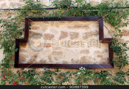 Pizza  restuarant sign stock photo, Pizza restuarant sign on old wall surrounded by ivy, Italian or Spanish with copy space. by Martin Crowdy