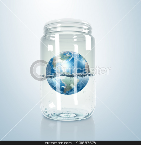 Planet earth inside glass jar stock photo, Image of our planet earth inside a glass jar by Sergey Nivens