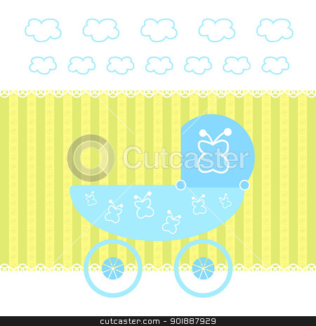 Baby card stock photo, Baby Boy Arrival Card. Vector illusration by Imaster