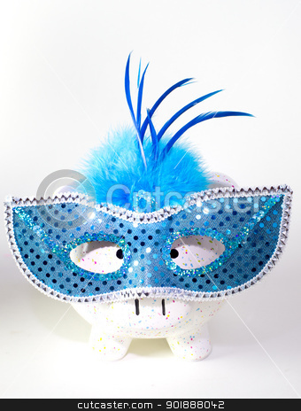Mardi Gras Pig stock photo, Piggy bank with Mardi Gras mask on white background by Cheryl Valle