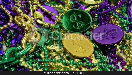 Mardi Gras Beads & Coins stock photo, Colorful Mardi Gras beads & coin background by Cheryl Valle