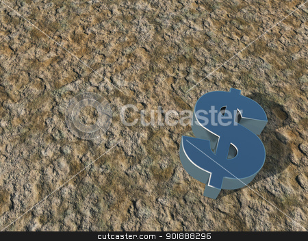 dollar symbol stock photo, metal dollar symbol on stone surface - 3d illustration by J?