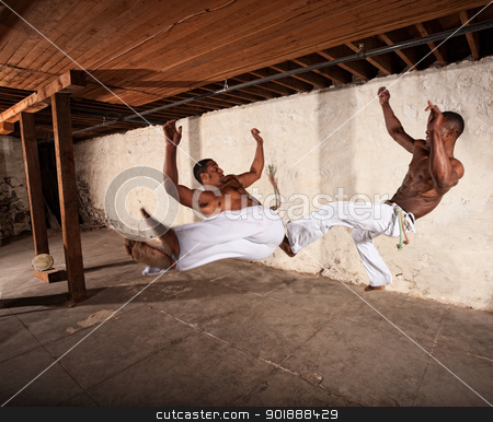 Two Martial Artists in Mid-air stock photo, Two Brazilian martial artists performing techniques in mid-air by Scott Griessel