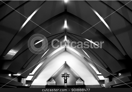 Church Architecture stock photo, interior church architecture in Black and White by Rachel Duchesne
