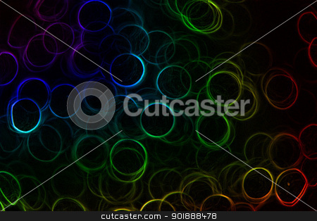Rainbow Neon Rings stock photo, Abstract Neon rainbow colored rings on a black background by Rachel Duchesne