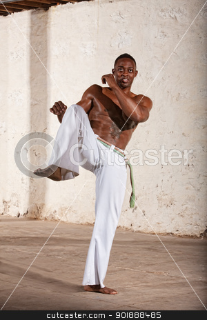 Young Man Does a Knee Kick stock photo, Handsome young Brazilian man doing a Capoeria knee kick by Scott Griessel