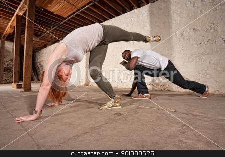 Capoeria Spinning Back Kick stock photo, Capoeria artist performs spinning back kick on partner by Scott Griessel