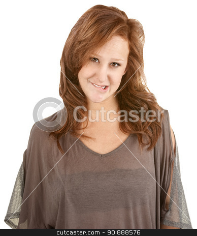 Coy Young Woman stock photo, Coy young white woman biting her lips by Scott Griessel