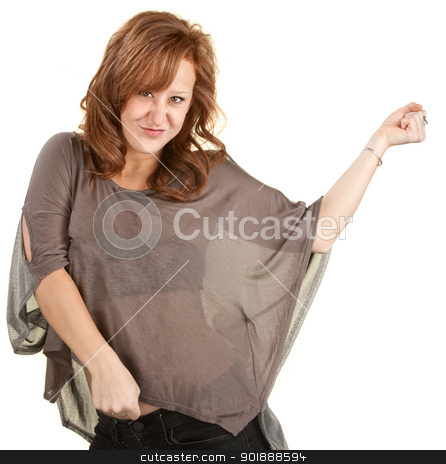 Pretty Red Head Dancing stock photo, Pretty red head woman dancing over white background by Scott Griessel