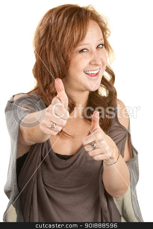 Woman With Thumbs Up stock photo, Smiling woman with two thumbs up on isolated background by Scott Griessel