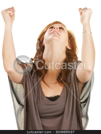 Woman With Fists in the Air stock photo, Emotional woman looking up with fists in the air by Scott Griessel