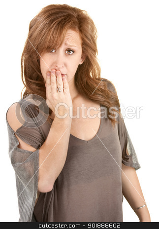 Sad Woman with Hand on Mouth stock photo, Sad Caucasian female with hand over mouth by Scott Griessel