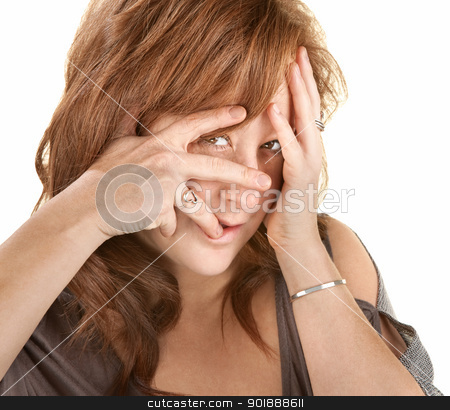 Upset Woman Covering Her Face stock photo, Upset European woman with face in her hands by Scott Griessel
